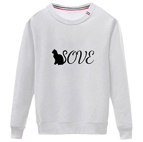 CuteRose Women Long-Sleeve Crew-Neck Printing Relaxed Sweatshirts White S