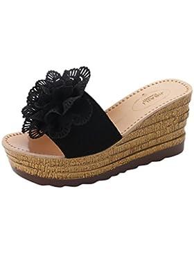 Chanclas para Mujer Verano 2018 PAOLIAN Playa Romano Zapatos de Plataforma Tacón Ancho Sandalias de Chanclas Cuña...