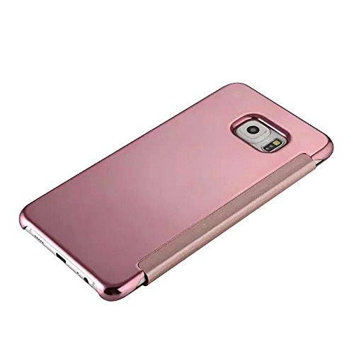 Cuitan Luxus Electroplate Spiegel PC Flip Hülle (PU Leder Verbinden) für Samsung Galaxy S6 G9200, Mode Kreative Entwurf Plating Mirror PC Hart Schutzhülle Handyhülle Handytasche Tasche Case Cover - Rose Gold