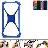 K-S-Trade Bumper für LG Electronics Q7 Alfa Silikon Schutz Hülle Handyhülle Silikoncase Softcase Cover Case Stoßschutz, blau (1x)