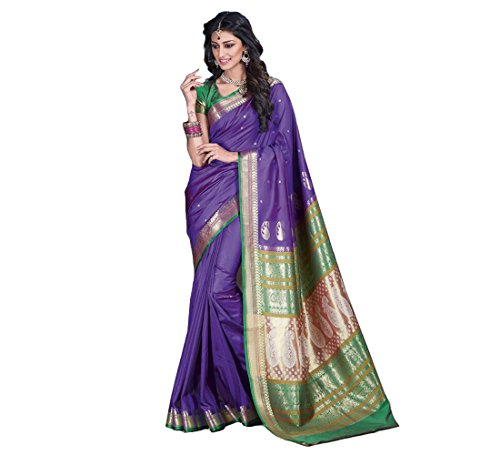 Craftsvilla sarees womens Purple Bangalore Silk Jacquard Party & Festival Wear Saree with Blouse Piece