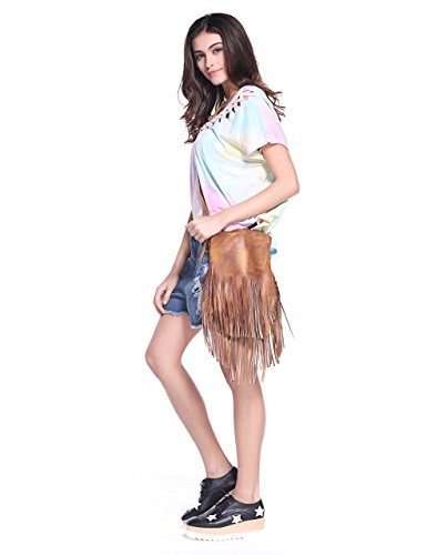 Da donna Boemia Handmade dip-dye Fringe sacchetto di cuoio tribale nappa a tracolla, Grey (Grigio) - JC-FLT-180007-GR-1 Marrone