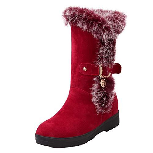 Flache Stiefel mit Schnalle und Pelz Schneestiefel Langschaft Damen Stiefeletten Plateau Boots Rot 39EU