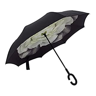 Double Layer Umgekehrten Schirm von AIQI - Stark Wasserdicht / UV-Schutz / Winddicht - Sunny oder Rainy Amphibious mit C-förmigen Hands Free Griff, am besten für Reisen und Auto verwenden(Gardenia weiß)