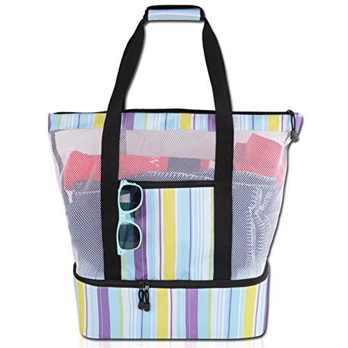 Multi-stripe Mesh (Picnic Beach Bag, Enjoyfeel Multi-Funktions-Mesh-Strandtasche mit Reißverschluss und isolierter Picknick-Kühlbox (Blue Stripes))