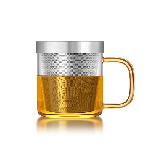 Teeglas mit Teesieb und Deckel (350 ml) - Gold - SAMADOYO®