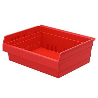Akro-Mils 30828 ShelfMax 8 Plastic Nesting Shelf Bin Box, 18-Inch x 22-Inch x 8-Inch, Red, 4-Pack