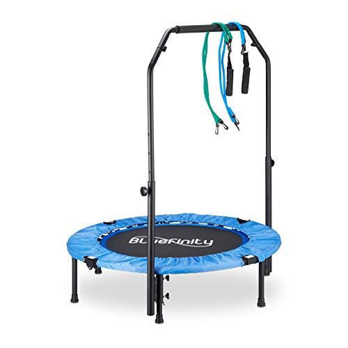 Bluefinity Trampolin mit Stange, Minitrampolin faltbar, Expander & Tasche, klein, HBT 121 x 102 x 102 cm, blau/schwarz