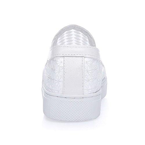 VogueZone009 Femme Tire à Talon Bas Matière Mélangee Couleur Unie Fermeture D'Orteil Rond Chaussures Légeres Blanc