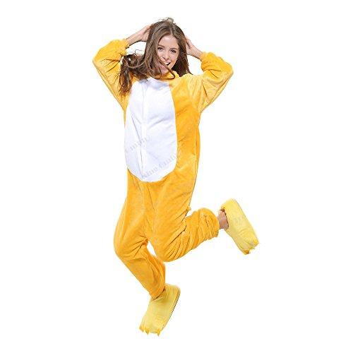Bär Plüschkostüm Einteiler Jumpsuit für Erwachsense - Gelb/Weiß - Gr. (Kostüme Bären)