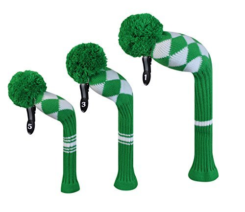 Kelly Green White Aryle Style Golf Headcovers  Set of 3  for Wood Clubs