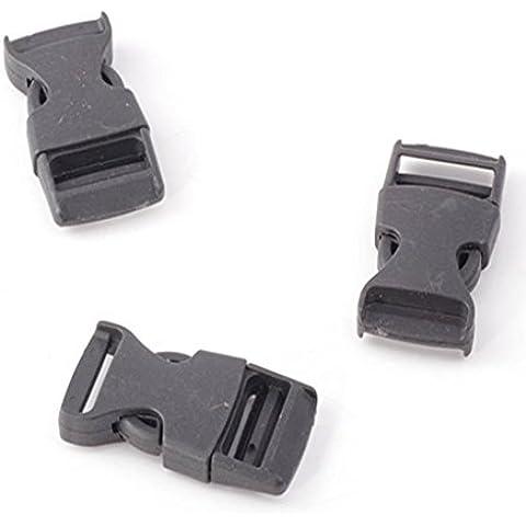 cooplay 10pc Clip de plástico negro hebillas Single Side liberación correa Bum Bolsas de viaje mochila equipaje anudados plano Dual Tamaño interior ajustable 20mm 25mm 38mm, 48mm, negro, 20mm inner side