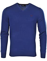 Fred Perry Pull Homme Bleu Foncé Basic Fit Laine Casual L