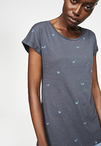 ARMEDANGELS Damen T-Shirt aus Bio-Baumwolle - Liv Little Foxes - GOTS, ORGANIC, CERES-008 Acid Black