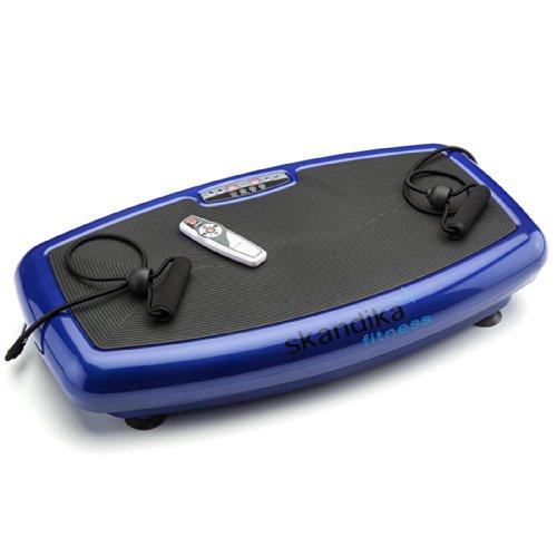 skandika Vibration Plate Home 600, 1093, Profi Vibrationsplatte, inkl. infrarot Fernbedienung, flüsterleiser Motor mit 20 Geschwindigkeitslevel große Trainingsfläche mit Anti-Rutschbeschichtung, blau