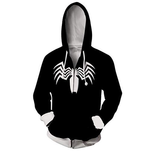 YKJL 3D gedruckt Hoodie Spider Man Langarm Hoody Casual sportbekleidung Halloween Cosplay kostüm Herbst Winter Kleidung für Student Stil,Schwarz,XL