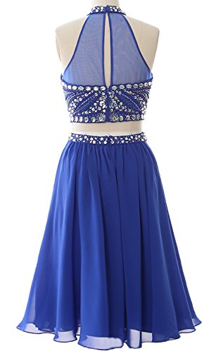 MACloth Women 2 Piece Prom Homecoming Dress Short Chiffon Cocktail Party Gown Burgunderrot