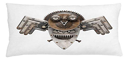 DHNKW Industrial Throw Pillow Cushion Cover, Stylized Collage with Owl Figure COG Hardware Gear Machinery Animal Print, Decorative Square Accent Pillow Case, 20 X 20 inches, Grey White Brown - Soft Square Bath Hardware