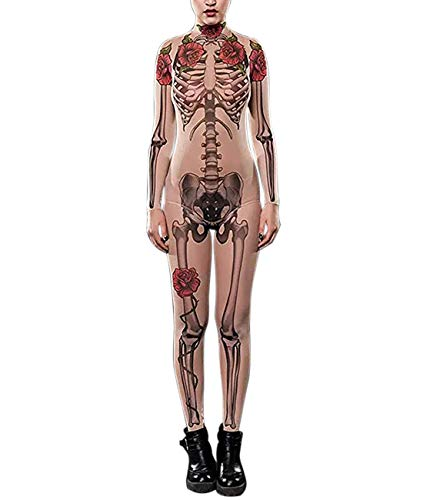 Idgreatim women halloween jumpsuit nude rose skeleton printed costume high neck long sleeve catsuit bodysuit black m