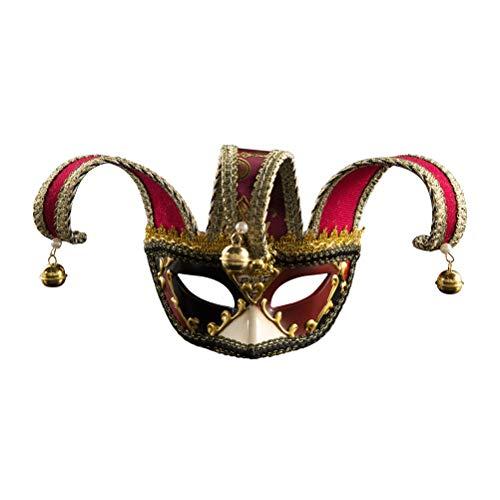 Zhhyltt Unisex Halb Maskerade Masken - Deluxe Joker Venezianische Maske mit Perlen Bells Dekoration Perfekt für Halloween