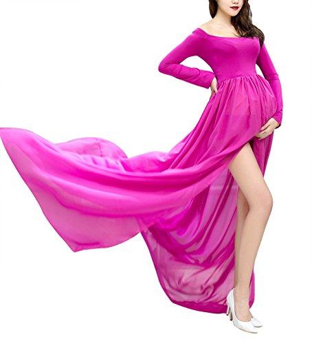 Rosen Langes Kleid (Happy Cherry Sexy Schwanger Fotoshooting Frauen Chiffon Kleider Mutterschaft Fotografie Requisiten Maxikleid Lange Dress Kleid, Rose Pink)