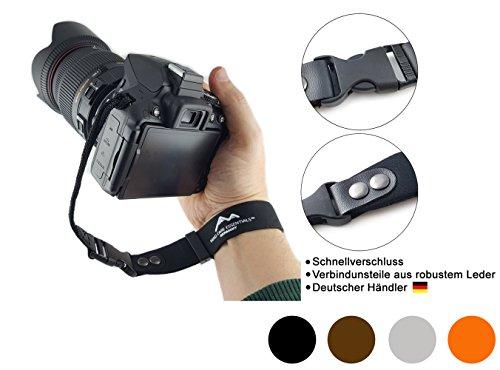 Neopren Kamera-Handschlaufe | klick-Verschluss | schwarz | ECHT Leder Verbindungsteile | Kompakt-Kameras spiegellose Systemkameras Kameraschlaufe Trageschlaufe | MIND-CARE-ESSENTIALS