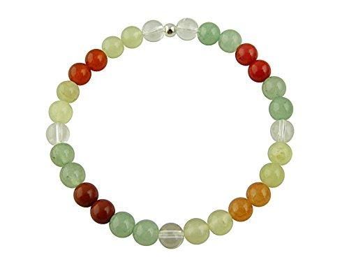 Sunsara Traumsteinshop Edelstein Sternzeichen Armband - Krebs, mit 925er Silber Perle, Heilsteinarmband, Stretcharmband 8139