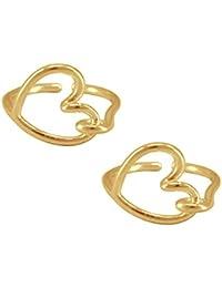 Silvernshine Women's 14K Yellow Gold Fn .925 Sterling Silver Open Heart Adjustable Toe Ring Set