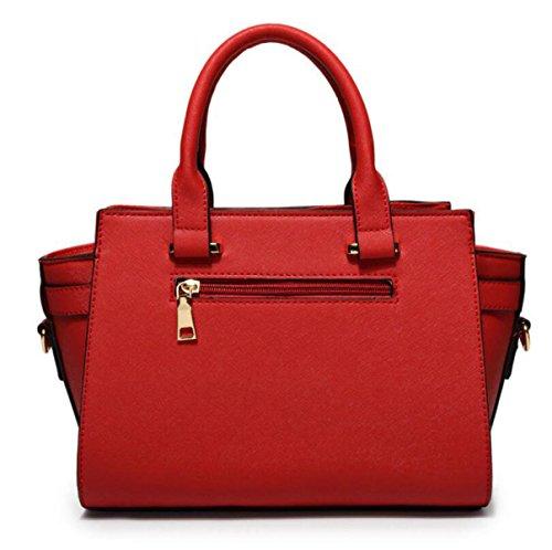 Damen Handtaschen Nieten Cross - Stil Single - Schulter Tasche Freizeit - Paket Leder Hardware Red