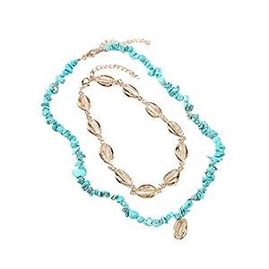 Böhmische handgemachte Metall mehrschichtige geometrische Halskette Damenschmuck YunYoud Damen Lange Halskette Exquisite Damenschmuck