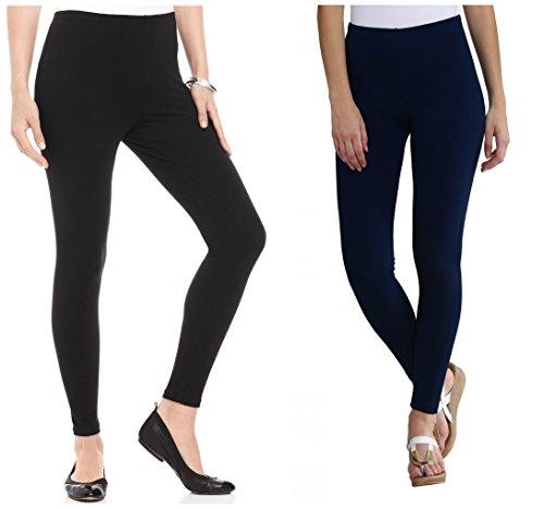 FashGlam Premium Ankle Length Leggings Combo - Black,Navy Blue
