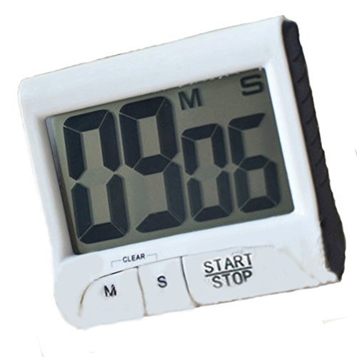 LCD Digital Kitchen Large Digit Timer Count-Down Up Clock Loud Alarm Black White (White) by Phoenix b2c