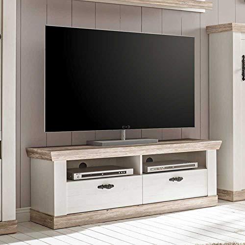 Pharao24 TV Unterschrank im Landhausstil Kiefer Weiß