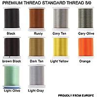 Riverrun Super realista estándar hilo 3/0,6/0,8/0,Twisted Thread, cuerpo de hilo mosca Tying Material Orgullosamente de Europa Tie Flies Body, 10 Color/set Standard thread 8/0