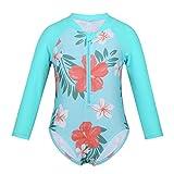 ranrann Baby Badeanzug Einteiler Bademode Mädchen Langarm Schwimmshirt UV Schutz UPF 50+ Sonnenschutz Badebekleidung Schwimmanzug Gr.62-104 Cyan 68-80/6-12 Monate