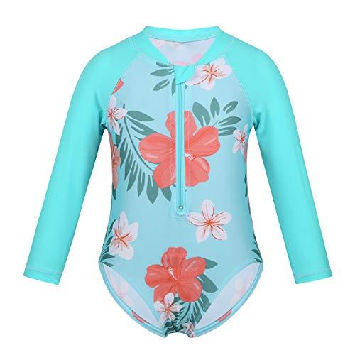 Alvivi Baby Mädchen UV Schutz Badeanzug Neoprenanzug Badebekleidung Sonnenschutz Surfen Taucheranzug Kinder Bademode Gr. 62-104 Cyan 62-68