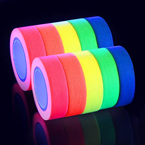 Povad Neon Klebeband UV Schwarzlicht Klebeband Gewebeband Gaffer Tape Neon, 5 Farben x 2er, (15MM x 5M) Pro Farbe (Parteien Die Für Dekor)