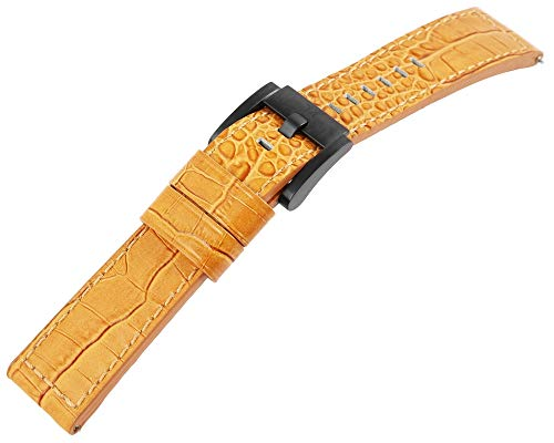 TW Steel Echt Leder Armband, 22 mm, Camel, schwarz, Schließe