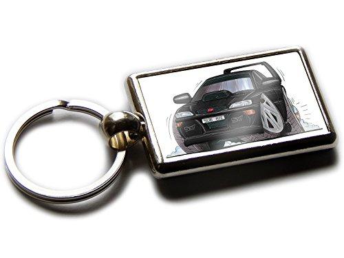 SUBARU IMPREZA Koolart Auto Offizielles Chrom Schlüsselanhänger verschiedene Bilder pro Seite, jede Farbe!, Black & Silver Wheels (Chrom-wheel-farbe)