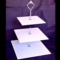 Basamento della Torta - Tre Livelli - Quadrato - Bianco - Grande