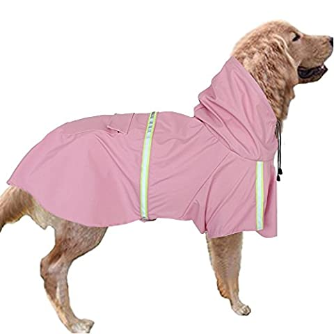 Waterproof Pet Raincoat Poncho Lightweight Hooded Rain Cover Jacket Rainwear Clothes with Reflective Band for Large Medium Small Dog (XL Length 15.75'',