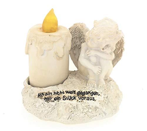 Vela LED para tumba con ángel y frase de luto