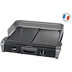 Tefal TG804D14 Barbecue Électrique BBQ Family Flavor 2 en 1 de Table Grill Plancha Thermostat Réglable 2 Surfaces de Cuisson 2400W