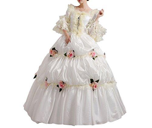 Nuoqi Damen Viktorianisch Kleid Palace Mittelalterliche Kleider Cosplay Kostüm Satin Gotisch Maskerade Kleidung (32, CC2988C-NI) (38, (Marie Antoinette Kostüm Kleid)