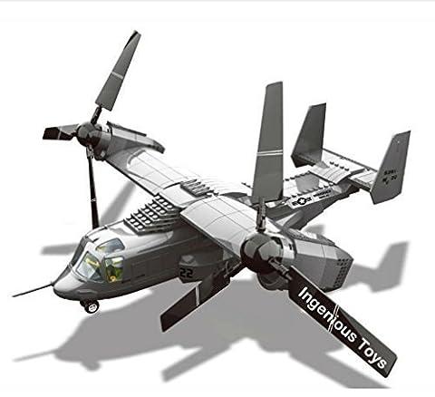 V-22 Military Tiltrotor Aircraft Building Blocks Model / army war battle tank plane ship #JX006