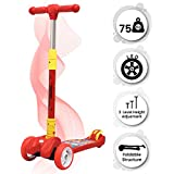 R for Rabbit Road Runner Scooter for Kids - The Smart Kick Scooter for Kids with Adjustable Height, Foldable LED PU Wheels and Weight Capacity 75 kgs Upto 3- to 14 Years (Red)