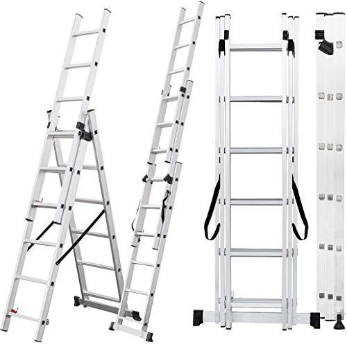 Craftfull Aluminium Leiter Teleskopleiter Klappleiter CF-106A - 6 Größen 3x6/3x7/3x9/3x11/3x12/3x14 - Stehleiter - Multifunktionsleiter (10 Meter (3x14 Sprossen))