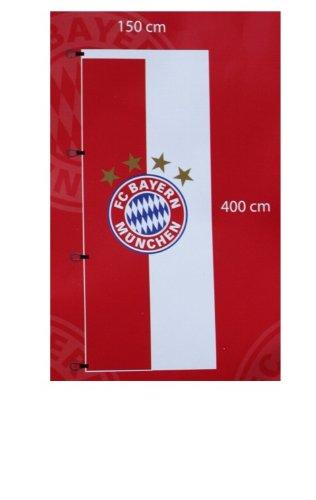 FC Bayern Hissfahne XL Flagge Logo 150 x 400 cm mit 4 Metall-Karabinerhaken für Fahnenmast