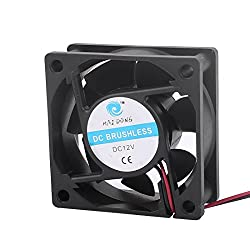 Sellify DC 12V 60mm x 60mm x 25mm 7 Vanes Square Cooling Cooler Fan w Metal Finger Guard