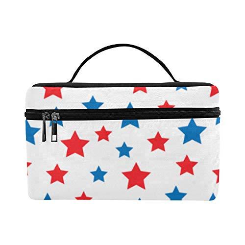 Usa Celebration rote und blaue Sterne Muster Lunchbox Tote Bag Lunch Holder Isolierte Lunch Cooler Bag für Frauen/Männer/Picknick/Bootfahren/Strand/Angeln/Schule/Arbeit